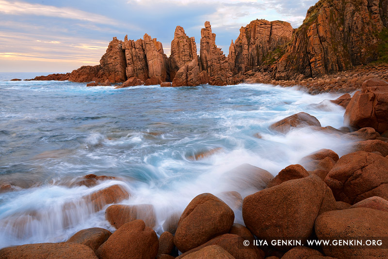 landscapes stock photography | The Pinnacles at Sunset, Cape Woolamai, Phillip Island, Victoria (VIC), Australia, Image ID AU-CAPE-WOOLAMAI-0001