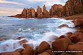 landscapes stock photography | The Pinnacles at Sunset, Cape Woolamai, Phillip Island, Victoria (VIC), Australia, Image ID AU-CAPE-WOOLAMAI-0001. Dominated by steep rocky headlands and exposed to the ferocious force of the wind off the Bass Strait, the Pinnacles at Cape Woolamai in Phillip Island in Victoria, Australia is an absolute treasure for landscape photographers. The area not only allows for spectacular grand vistas to be captured with the beautiful warm light of a setting sun to the west but also enables the creative landscape photographer to capture the smaller details, textures and patterns of the landscape made ever more evident by the low directional light at sunset.