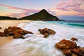 landscapes stock photography | Sunset over Zenith Beach, Tomaree National Park, Port Stephens, NSW, Australia, Image ID AU-ZENITH-BEACH-0002. Zenith Beach near Port Stephens is the most northern and picturesque of the beaches on the Tomaree Peninsula.