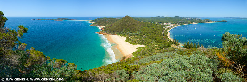 landscapes stock photography | Zenith Beach and Shoal Bay Panorama, Tomaree National Park, Port Stephens, NSW, Australia