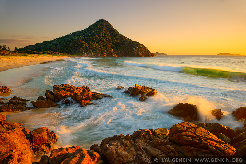 landscapes stock photography | Zenith Beach at Sunrise, Tomaree National Park, Port Stephens, NSW, Australia