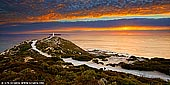 landscapes stock photography | Sunset at Cape Spencer, Yorke Peninsula, South Australia (SA), Australia, Image ID AU-CAPE-SPENCER-0001. Beautiful sunset at Cape Spencer on Yorke Peninsula in South Australia. Cape Spencer is a headland located on the south west tip of Yorke Peninsula in South Australia. It was named after George Spencer, 2nd Earl Spencer by Matthew Flinders during March 1802. It has been the site of an operating navigation aid since 1950 and has been located within the Innes National Park since 1970. The current concrete lighthouse was built in 1975 to replace a small automatic beacon erected in 1950. The cape is also the site of a high frequency radar station which is used to collect data about wind direction and wave height. It is easily accessible by road with a short walk to the tower itself. This short walk (approximately one hour return) provides spectacular views from Cape Spencer, including of the Althorpe Islands, West Cape and the rugged cliff lines along the southern coast of Innes National Park.