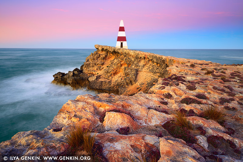 landscapes stock photography | Robe Obelisk at Sunrise, Limestone Coast, South Australia, Australia, Image ID AU-ROBE-0001