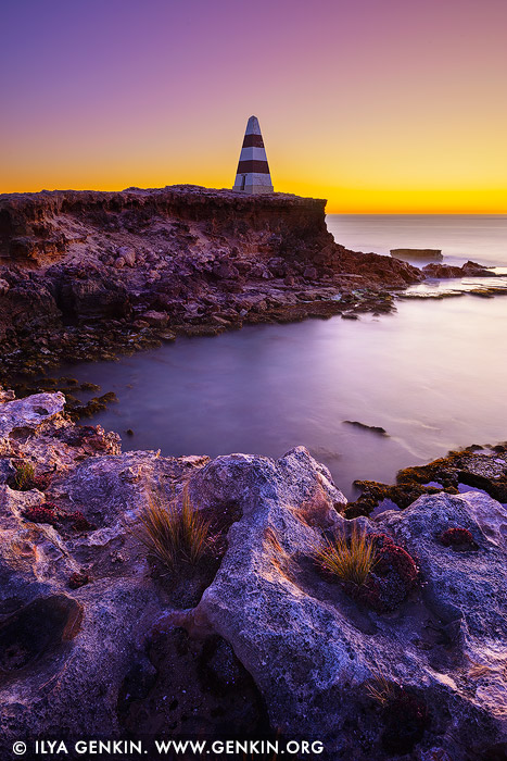 landscapes stock photography | Cape Dombey Obelisk at Sunset, Robe, Limestone Coast, South Australia, Australia, Image ID AU-ROBE-0003