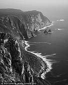 landscapes stock photography   Cape Raoul, Tasman Peninsula, Tasmania (TAS), Australia, Image ID TAS-CAPE-RAOUL-0001. Spectacular black and white image of the incredible dolomite cliffs of the Tasman National Park and Cape Raoul on Tasman Peninsula from a lookout. Tasmania's highest sea cliffs tower more than 300 metres above the Southern Ocean and Cape Raoul is considered one of the most beautiful cliff top walks in Australia.
