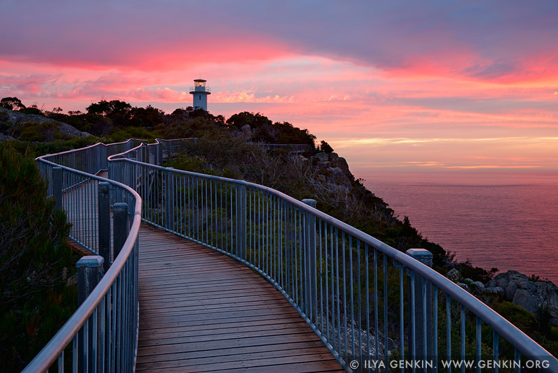 landscapes stock photography | Sunrise at Cape Tourville Lighthouse, Freycinet National Park, Tasmania (TAS), Australia, Image ID TAS-CAPE-TOURVILLE-LIGHTHOUSE-0001