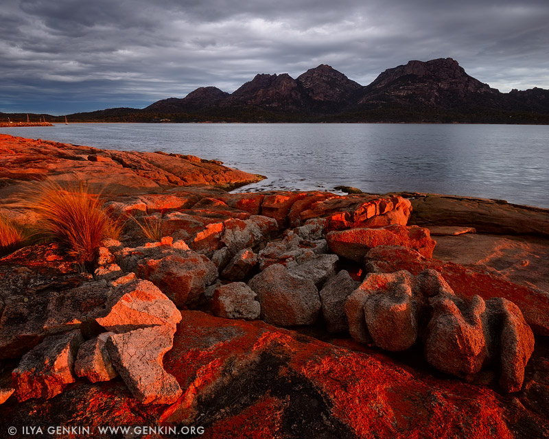 landscapes stock photography | The Hazards at Sunset, Coles Bay, Freycinet National Park, Tasmania (TAS), Australia, Image ID TAS-COLES-BAY-0001