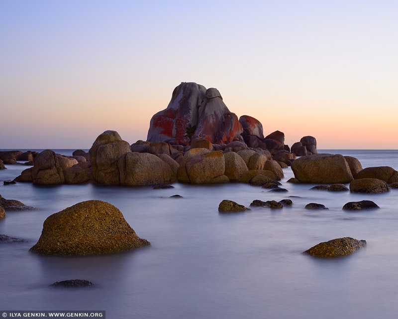 landscapes stock photography | The Picnic Rocks at Sunrise, Mount William National Park, Tasmania (TAS), Australia, Image ID TAS-PICNIC-ROCKS-0001