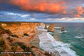 landscapes stock photography | The Twelve Apostles at Sunrise, Great Ocean Road, Port Campbell National Park, Victoria, Australia, Image ID APOST-0021. The Twelve Apostles are world-recognised icons of the Great Ocean Road in Victoria, Australia. These giant rock stacks soar from the swirling waters of the Southern Ocean and are a central feature of the spectacular Port Campbell National Park, only 12 km east of Port Campbell. The dramatic and imposing limestone cliffs that are the backdrop to the Apostles tower up to 70 m, while the tallest of the rock stacks is around 45 m high. While anytime of the day provides great views, sunrise and sunset are particularly impressive for the blazing hues created, and are times that are especially popular with photographers.