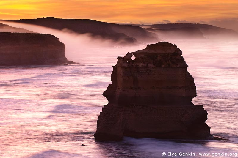 landscapes stock photography | Early Morning Mist Flowing Down the Slopes at Twelve Apostles, Great Ocean Road, Port Campbell National Park, Victoria, Australia, Image ID APOST-0002
