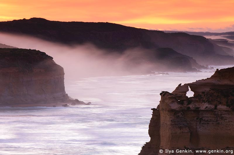 landscapes stock photography | Early Morning Mist Flowing Down the Slopes at Twelve Apostles, Great Ocean Road, Port Campbell National Park, Victoria, Australia, Image ID APOST-0003