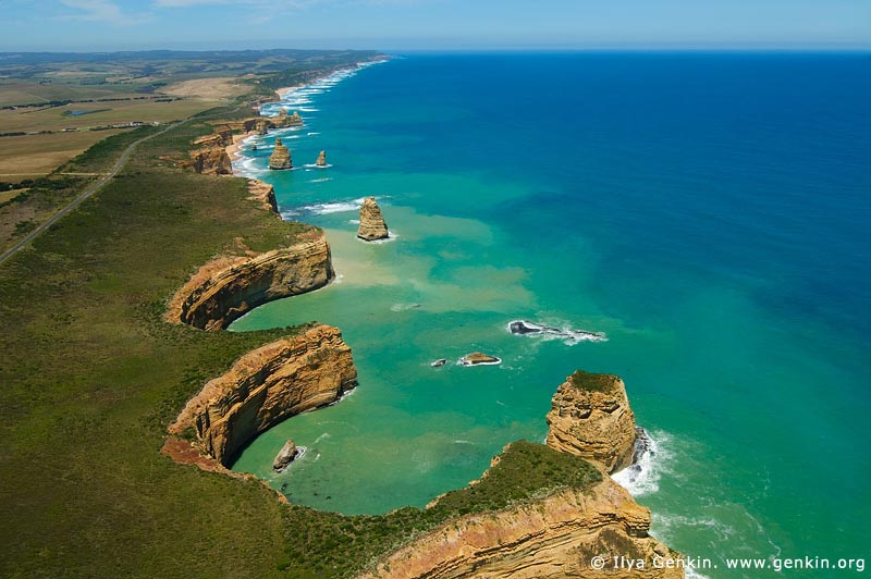 landscapes stock photography | Rugged Coastline. Aerial View, The Twelve Apostles, Great Ocean Road, Port Campbell National Park, Victoria, Australia, Image ID APOST-0018