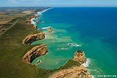 landscapes stock photography | Rugged Coastline. Aerial View, The Twelve Apostles, Great Ocean Road, Port Campbell National Park, Victoria, Australia, Image ID APOST-0018.