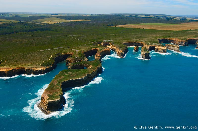 landscapes stock photography | Rugged Coastline. Aerial View, The Twelve Apostles, Great Ocean Road, Port Campbell National Park, Victoria, Australia, Image ID APOST-0019