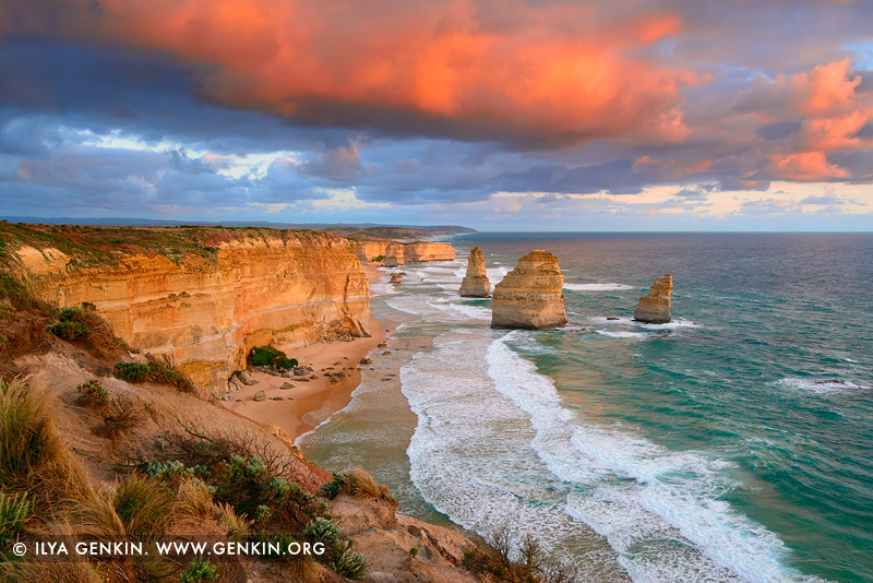 landscapes stock photography | The Twelve Apostles at Sunrise, Great Ocean Road, Port Campbell National Park, Victoria, Australia