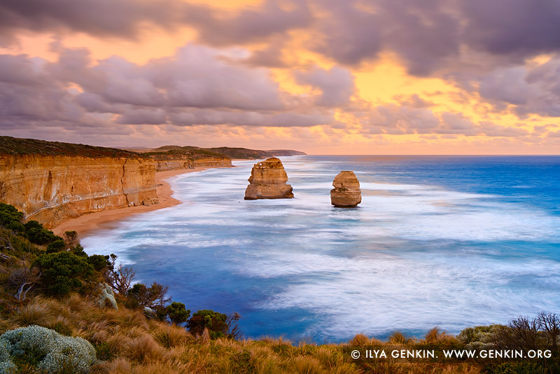 landscapes stock photography | The Gibson Steps at Sunset, The Twelve Apostles, Great Ocean Road, Port Campbell National Park, Victoria, Australia, Image ID APOST-0022