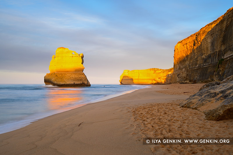 landscapes stock photography | Sunrise at The Gibson Steps, The Twelve Apostles, Great Ocean Road, Port Campbell National Park, Victoria, Australia, Image ID APOST-0023