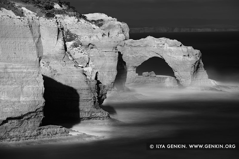 landscapes stock photography | The Arch in Black and White, The Twelve Apostles, Great Ocean Road, Port Campbell National Park, Victoria, Australia, Image ID APOST-0026