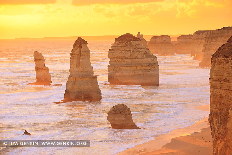 landscapes stock photography | Golden Sunset at The Twelve Apostles, The Twelve Apostles, Great Ocean Road, Port Campbell National Park, Victoria, Australia, Image ID APOST-0028