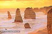 landscapes stock photography | Golden Sunset at The Twelve Apostles, The Twelve Apostles, Great Ocean Road, Port Campbell National Park, Victoria, Australia, Image ID APOST-0028. The sky becomes golden at sunset near The Twelve Apostles along the Great Ocean Road in Victoria, Australia. The golden hues reflect off the surface of the water and sandstone cliffs. The Twelve Apostles in the foreground become silhouetted in the sunset lighting while the background hills remain brightly illuminated.