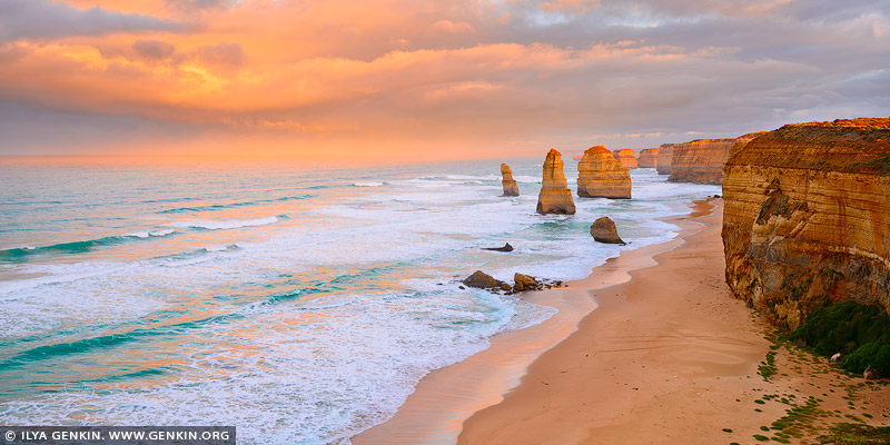 landscapes stock photography | Sunrise at The Twelve Apostles, The Twelve Apostles, Great Ocean Road, Port Campbell National Park, Victoria, Australia, Image ID APOST-0030