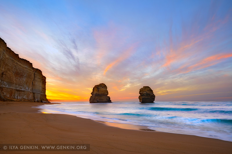 landscapes stock photography | Gog and Magog at Sunrise, The Twelve Apostles, Great Ocean Road, Port Campbell National Park, Victoria, Australia, Image ID APOST-0032