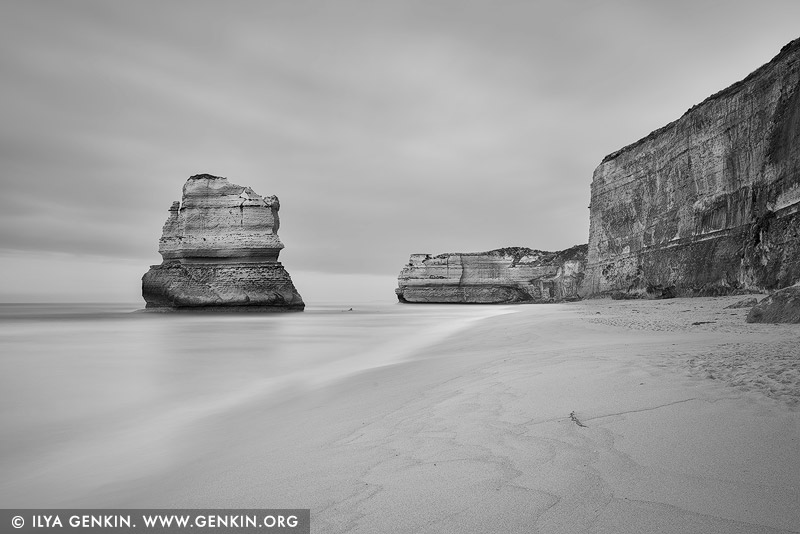 landscapes stock photography | Gog and Magog in Black and White, The Twelve Apostles, Great Ocean Road, Port Campbell National Park, Victoria, Australia, Image ID APOST-0034
