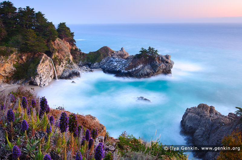 landscapes stock photography | McWay Falls after Sunset, Julia Pfeiffer Burns State Park, Big Sur, Monterey County, California, USA, Image ID BIG-SUR-CALIFORNIA-USA-0001