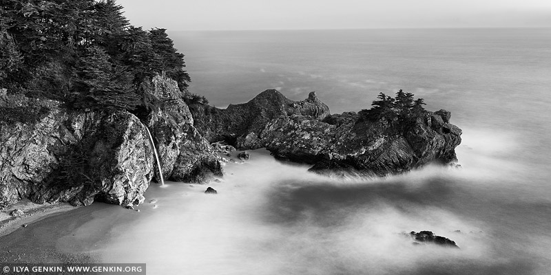 landscapes stock photography | McWay Falls in Black and White, Julia Pfeiffer Burns State Park, Big Sur, California, USA, Image ID BIG-SUR-CALIFORNIA-USA-0002