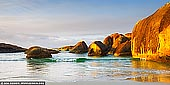landscapes stock photography | Elephant Rocks at Sunrise, Denmark, South-West Coast, Western Australia, Australia, Image ID AU-WA-ELEPHANT-ROCKS-0001. Elephant Rocks is a sheltered beach in Western Australia. It is located about 15 km west from Denmark, in William Bay National Park. As it name suggests, Elephant Rocks looks exactly like a herd of elephants, paddling in the shallow waters. It is one of favourite places to visit on the South Coast. Tranquil Elephant Cove and Greens Pool nearby offer excellent swimming, snorkelling and diving. The sheltered turquoise water is protected from the Southern Ocean swell making it ideal for the whole family. It's also very popular photography location.