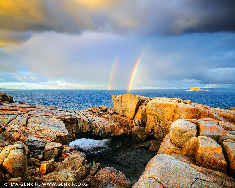 landscapes stock photography | Stormy Sunrise at the Natural Bridge, Torndirrup, Western Australia (WA), Australia, Image ID AU-WA-NATURAL-BRIDGE-0001