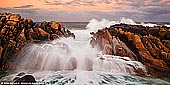 landscapes stock photography | Wyadup Rocks at Sunrise, Dunsborough, South-West Coast, Western Australia, Australia, Image ID AU-WA-WYADUP-ROCKS-0001. Wyadup Rocks are granite headland south of Yallingup in South-West of Western Australia. It is a popular fishing spot and an amazing beach. It is also a great place along the Margaret River coast just to admire the views of crashing waves and watch the sunset.