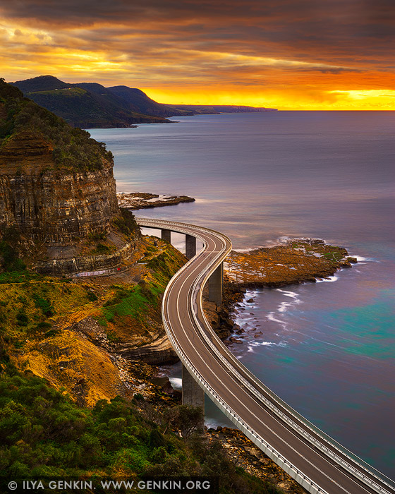 landscapes stock photography | Sea Cliff Bridge at Sunrise, Illawarra, New South Wales (NSW), Australia, Image ID AU-NSW-SEA-CLIFF-BRIDGE-0001