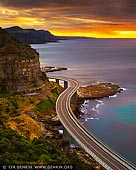 landscapes stock photography | Sea Cliff Bridge at Sunrise, Illawarra, New South Wales (NSW), Australia, Image ID AU-NSW-SEA-CLIFF-BRIDGE-0001. The 665 metre Sea Cliff Bridge is a highlight along the Grand Pacific Drive. The bridge has become an icon to the people of Wollongong and New south Wales. Opened in December 2005, the Sea Cliff Bridge offers visitors the chance to get out of the car and stretch their legs. It is also a great viewing platform for migrating whales heading north or south during migrating season.