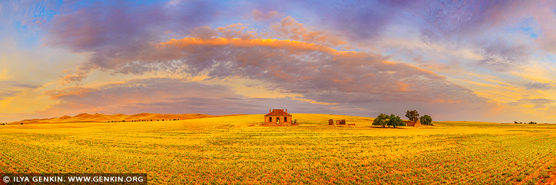 landscapes stock photography | Midnight Oil Cottage at Sunset, Burra, South Australia (SA), Australia, Image ID AU-BURRA-ABANDONED-FARMHOUSE-0003