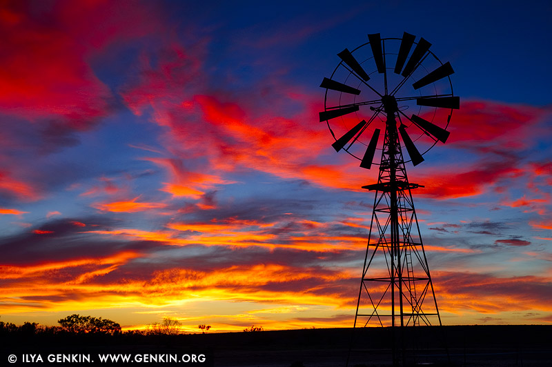 landscapes stock photography | Windmill at Sunset, Tibooburra, New South Wales (NSW), Australia, Image ID AU-NSW-WINDMILL-SUNSET-0001