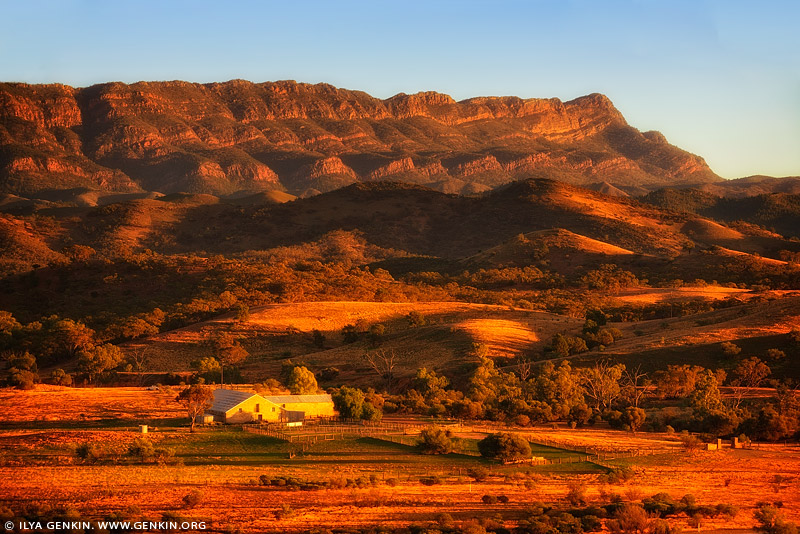 landscapes stock photography | Arkaba Station Woolshed at Sunrise, Flinders Ranges, SA, Australia, Image ID AU-SA-FLINDERS-0012