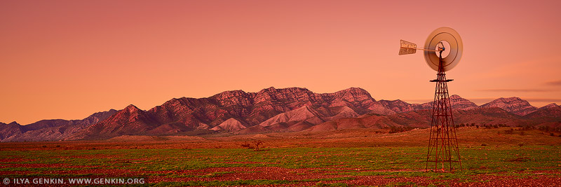 landscapes stock photography | Bunbinyunna Range at Sunset, Flinders Ranges, SA, Australia, Image ID AU-SA-FLINDERS-0014
