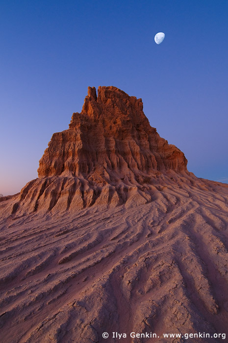 landscapes stock photography | The Walls of China (Lunette) after Sunset, Mungo National Park, NSW, Australia, Image ID AU-MUNGO-0003