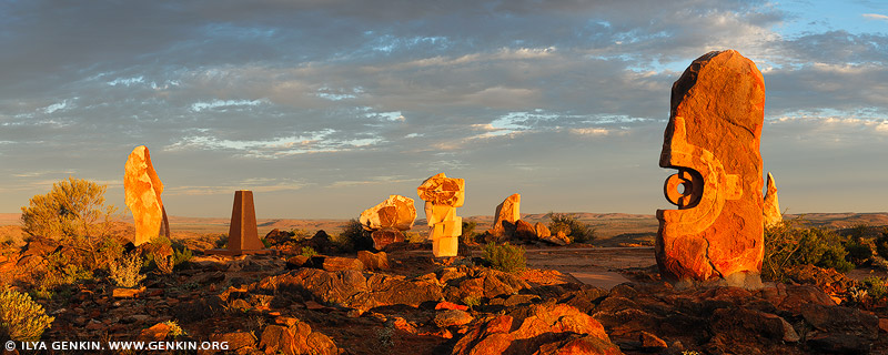 landscapes stock photography   Sculpture Symposium Panorama at Sunset, Broken Hill, NSW, Australia, Image ID AU-BROKEN-HILL-0010