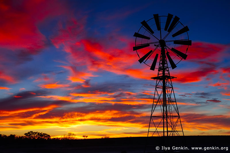 landscapes stock photography | Windmill at Sunset in Australian Outback, Sturt National Park, New South Wales (NSW), Australia