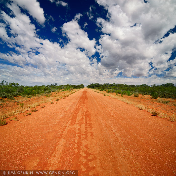 landscapes stock photography | Red Australian Rural Road With Clouds in Blue Sky, NSW Outback, Australia, Image ID AU-OUTBACK-0001