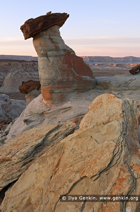 landscapes stock photography | Hoodoos at Dusk, Stud Horse Point, Page, Arizona, USA, Image ID USA-ARIZONA-STUD-HORSE-POINT-0003
