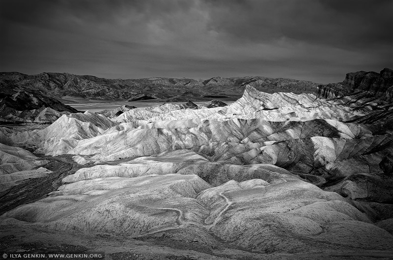 landscapes stock photography | Zabriskie Point in Black and White, Death Valley, California, USA, Image ID US-DEATH-VALLEY-0012