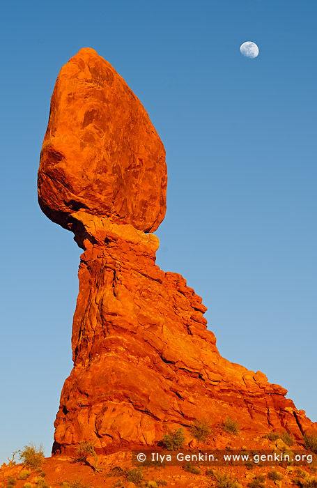 landscapes stock photography | Moon Rising Over The Balanced Rock, Arches National Park, Utah, USA