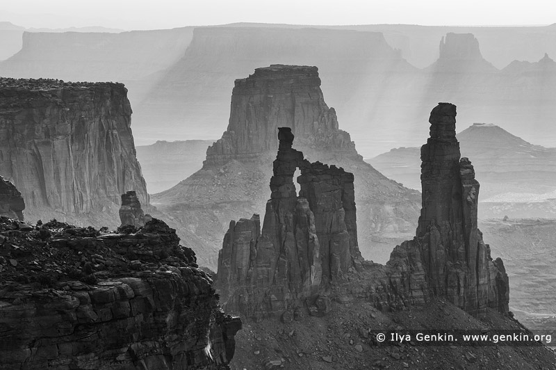 landscapes stock photography | Washer Woman Arch, Monster Tower and Airport Tower, Island in the Sky, Canyonlands National Park, Utah, USA, Image ID CANYONLANDS-NATIONAL-PARK-UTAH-USA-0006