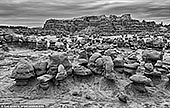landscapes stock photography | Goblin Valley in Black and White, Goblin Valley State Park, Utah, USA, Image ID GOBLIN-VALLEY-STATE-PARK-UTAH-USA-0006. Fine art black and white photo of a vast field of mushroom-shaped eroded sandstone hoodoos at Goblin Valley State Park, Utah, USA.