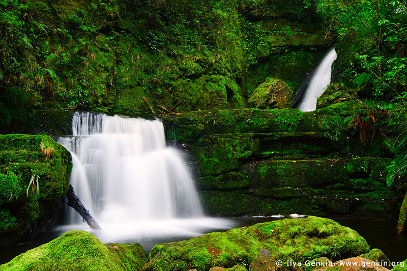 landscapes stock photography   Lower McLean Falls, The Catlins, South Island, New Zealand, Image ID NZ-MCLEAN-FALLS-0002