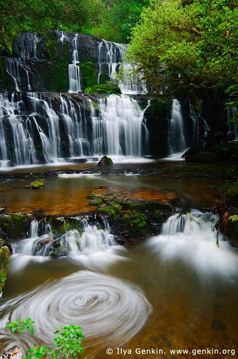 landscapes stock photography | Purakaunui Falls, The Catlins, South Island, New Zealand, Image ID NZ-PURAKAUNUI-FALLS-0002