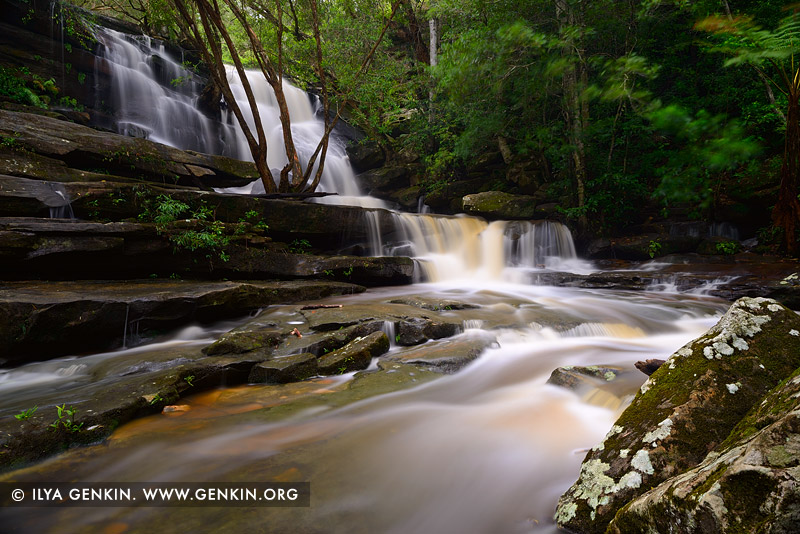 landscapes stock photography | Lower Cascades of Somersby Falls after Rain, Brisbane Water National Park, Central Coast, NSW, Australia